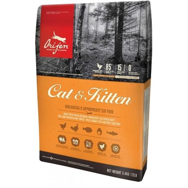 Orijen Cat & Kitten 5.4 kg + recompense WellFed, hipoalergenice, cu peste si iarba pisicii 50g
