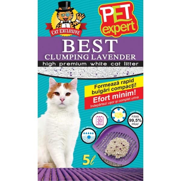 Nisip litiera pisici, Pet Expert, Clumping, Lavanda, Bentonita, 5 L