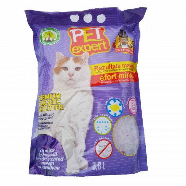 Nisip litiera pisici, Pet Expert, Silicat Lavanda, 3.8 L