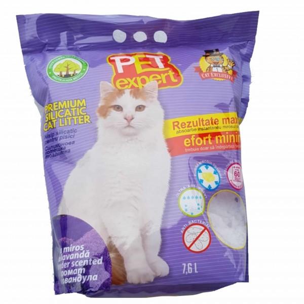 Nisip litiera pisici, Pet Expert, Silicat Lavanda, 7.6 L