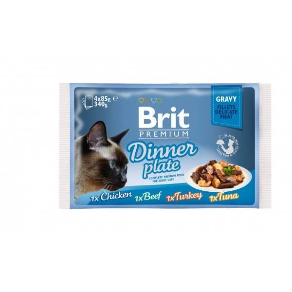 Brit Cat Multipack Delicate Dinner Plate in Gravy 4 x 85 g