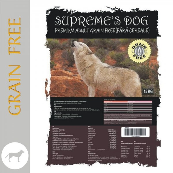 SUPREME'S PREMIUM ADULT CHICKEN & POTATO NO GRAIN 10 kg + CADOU CONSERVA BTG CLASSIC 1240 gr