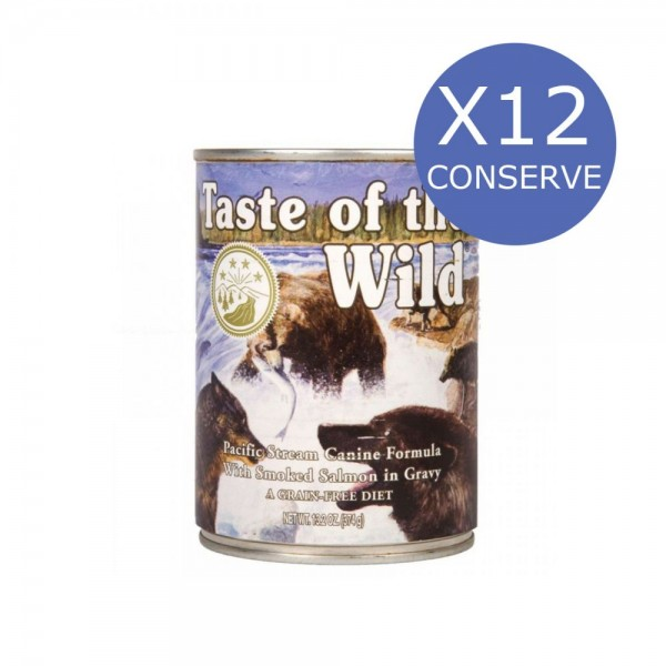 Bax 12 Conserve Taste Of The Wild Pacific Stream 390 gr.