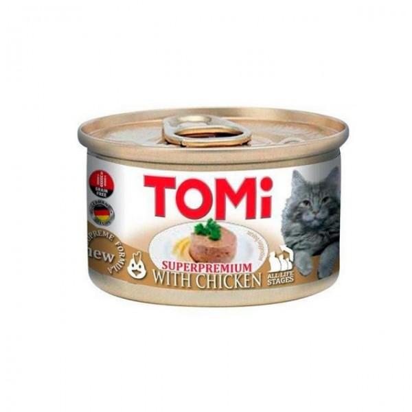 Hrana umeda pentru pisici, Tomi, Pui, SuperPremium, Grain Free, conserva 85 g