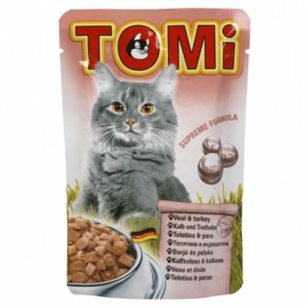 Tomi Cat cu Vitel si Curcan, 20 x plicuri 100 g