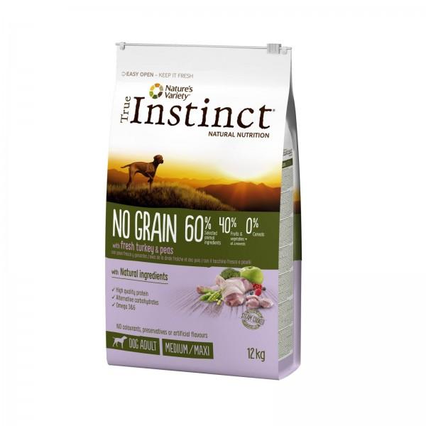 True Instinct Dog No Grain, Medium-Maxi Adult cu Curcan, 12 kg