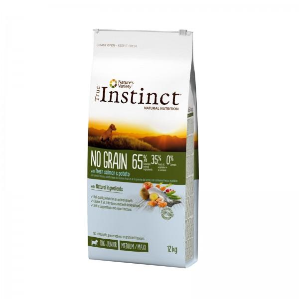 True Instinct Dog No Grain, Medium-Maxi Junior cu Somon, 12 kg