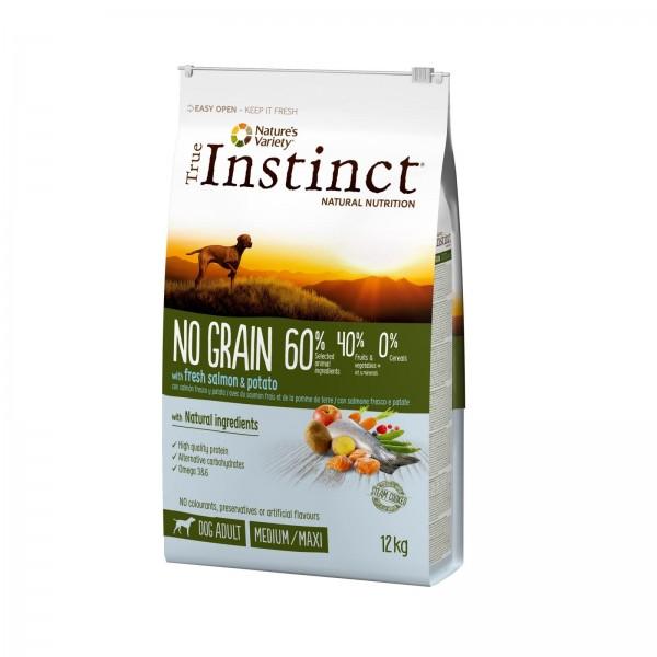 True Instinct Dog No Grain, Medium-Maxi Adult cu Somon, 12 kg