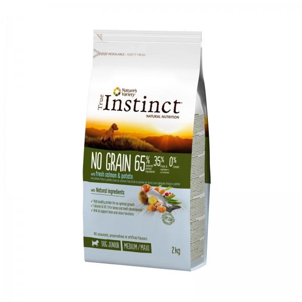 True Instinct Dog No Grain, Medium-Maxi Adult cu Somon, 2 kg