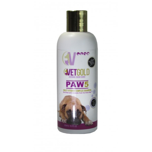 Sampon Vetgold Paw5, cu complex de vitamine, 250 ml