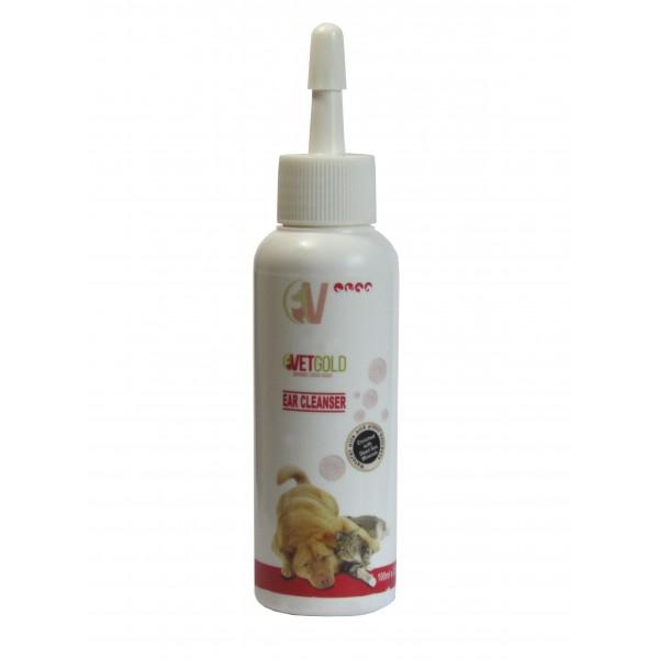 Solutie otica pentru igiena auriculara, Vetgold, pentru caini si pisici, pe baza de acid salicilic, 100 ml