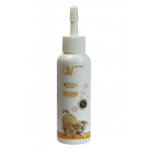 Solutie otica pentru igiena auriculara, Vetgold, pentru caini si pisici, pe baza de uleiuri naturale, 100 ml