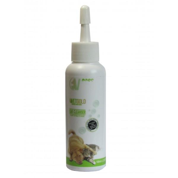 Solutie otica pentru igiena auriculara, Vetgold, pentru caini si pisici, pe baza de extracte de plante, 100 ml