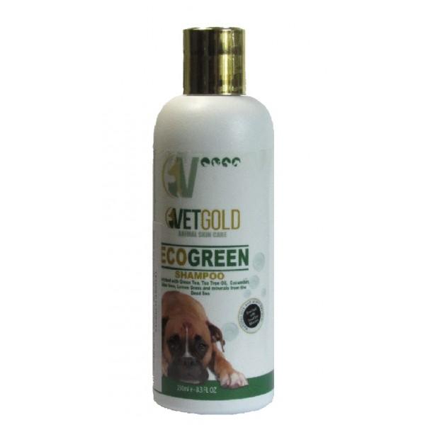 Sampon Vetgold Ecogreen, cu ceai verde, castravete, Aloe Vera, saruri de la Marea Moarta, pentru caini si pisici, 250 ml