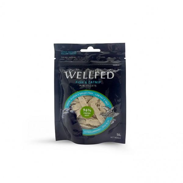 Recompense pentru pisici WellFed, hipoalergenice, cu peste si iarba pisicii 50g